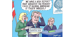 Climate change - Tiger Woods cartoon