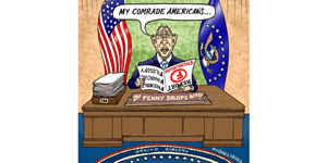 cartoon George Bush appeals to US comrades