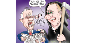 cartoon Costello spectre over Turnbull