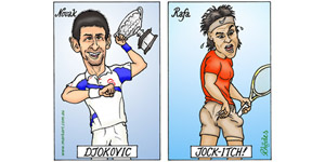 Novak Djokovic Vs Rafa Jockitch - cartoon