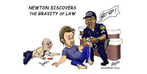 Newton discovers the gravity of law